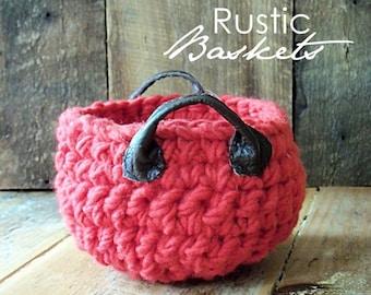 Felted Crochet Basket in Red