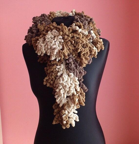 crochet shawl DOROTA-brown