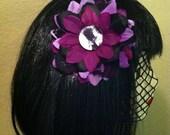 Bride Of Frankenstein Purple Flower Hair Clip