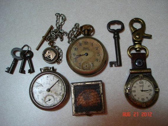 Vintage Watches, Keys, Pill Box