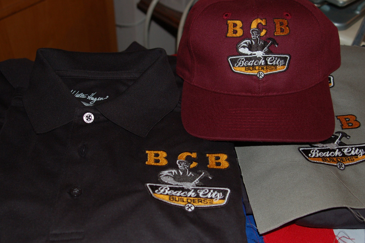 custom made company polo shirts and hats