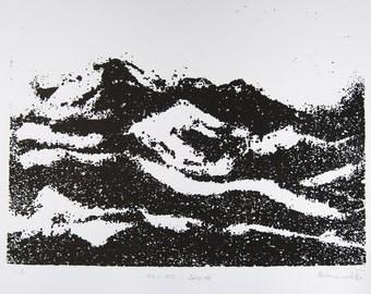 Screenprint in black ink. Powder Mountain. Landscape art