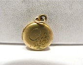 Vintage 12k Gold Filled Round Locket Charm Floral Design 8 mm #115