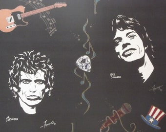 """Rolling Stones in Art with Mick Jagger and Keith Richards a Limited Edition,10""""x13"""" Print of the Original Painting by artist Charles Freeman"""