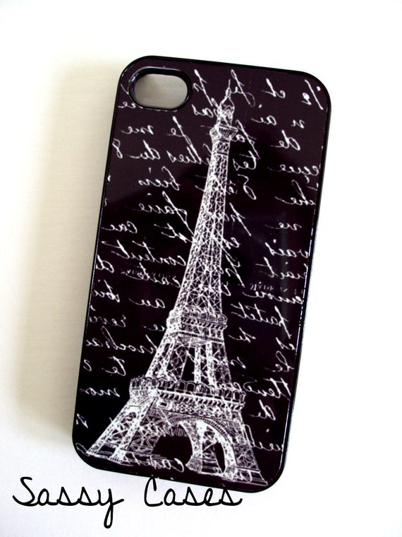 Cool iPhone Case fits 4 4S Eiffel Tower Black French Script