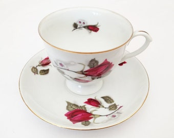 Cup and Saucer by Wawel, Old Rose Pattern, Antique Cup