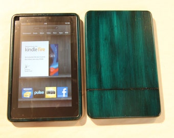 Blue Kindle Fire Wood Case - colorful custom hand finish