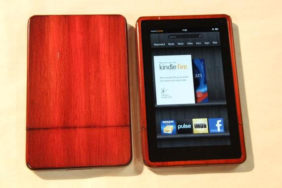 Kindle Fire Wood Case - Custom antique orange finish