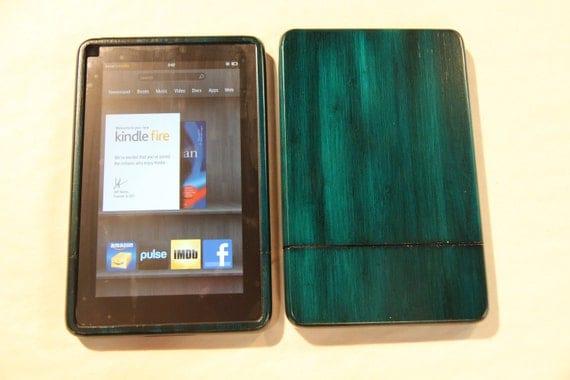 Blue Kindle Fire Wood Case - colorful custom hand finish