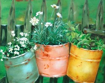 Rusty Buckets canvas print