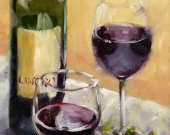 A Study in Wine, Fine Art Canvas Giclee, 8 x 10