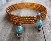 Amber Beaded Cuff Bracelet with Teal Green Charms, Eco-Friendly Jewelry, Upcycled, Earthy Boho, Memory Wire, Gypsy Jewelry, Layering