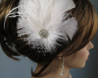 White Feather Hair Clip  Wedding Accessory Bridal Feather Hair Clip Bridal Accessory Vail Crystals