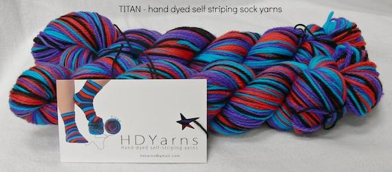 TITAN - Hand Dyed Self Striping Sock Yarn