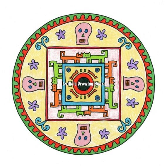 Mandala Art, Mandala Wall Art, Mandala Print, Mandala, Day of the Dead, Day of the Dead Art, Dia de Los Muertos, Dia de Los Muertos Art