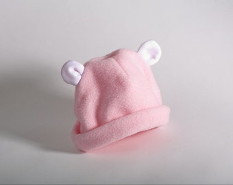 Baby Hat w/Ears - Pink Fleece - Baby Girl Winter Hat, Baby Shower Gift, New Baby Gift, Baby Girl Fleece Hat, Bear Costume, Baby Picture Prop