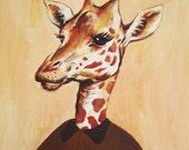 Giraffe Girl Print - Art Print Poster - Drawing Illustration - Acrylic Painting - Art Decor