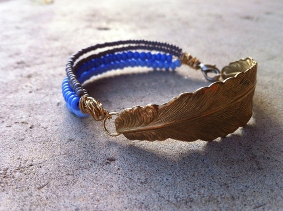 THE DEBUTANT hammered brass feather seed bead bracelet rustic beachy blue gray bent bangle