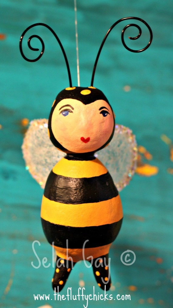 Bumbles the Bumble Bee Art Doll Ornament