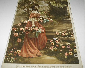 Postcard Used 1900s Real Photo Victorian Beauty in Orange Gown Basket of Flowers