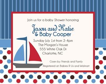Sail Boat Baby Shower Birthday Printable Invitation