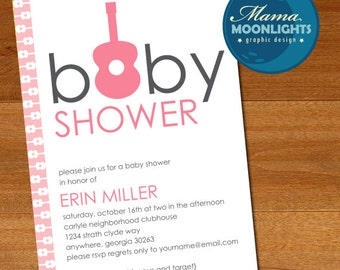 Baby Shower Guitar Invitation Printable Inspired By Michael Miller Groovy Guitars (Pinks / Gray)