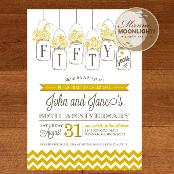 50th Wedding Anniversary Invitation Ideas: Wedding Anniversary Party Printable Invitation Vintage