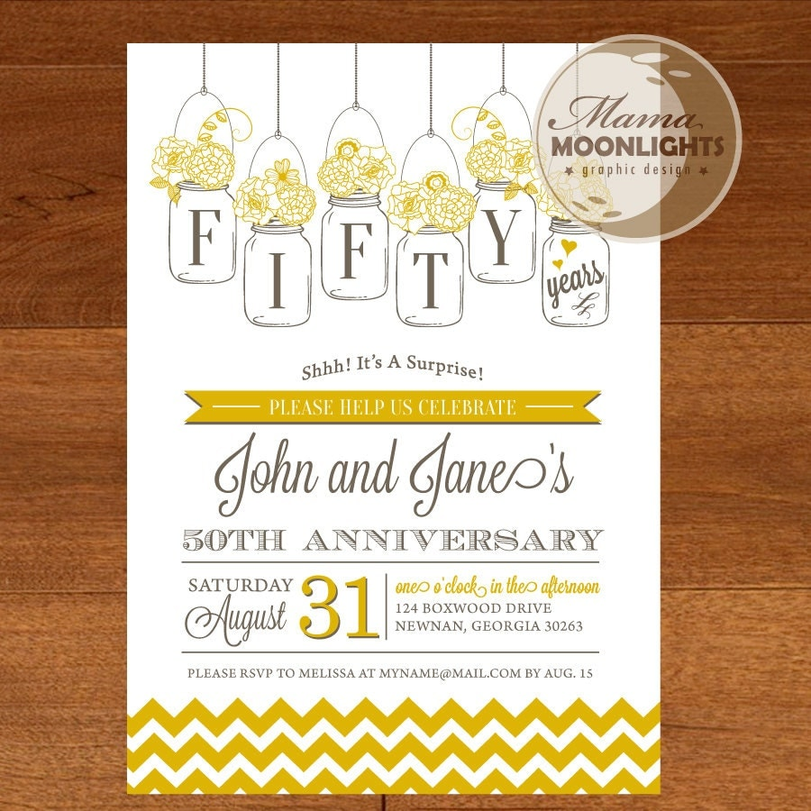 Wedding Party Invitations: Wedding Anniversary Party Printable Invitation Vintage