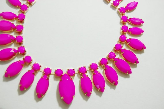 Neon SunBurst Faux Stone Bib Statement Necklace in Hot Pink