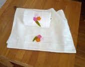 Natural Bamboo Organic Cotton Hand Facial Bath or Kitchen Towel Set of two with hand woven flowers