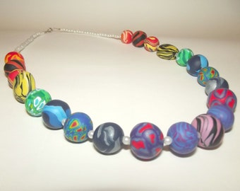 Beaded Rainbow Necklace with Handmade Polymer Clay Beads