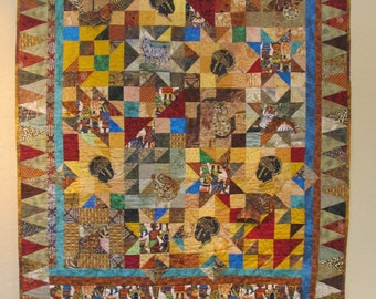 "Collage Quilt- African theme- ""Jungle Patchwork"""