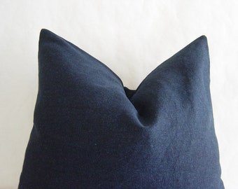 "20"" by 20"" Dark Blue Denim Pillow Cover"