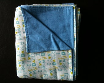 Double sided receiving blanket for baby boy - I love mommy I love daddy