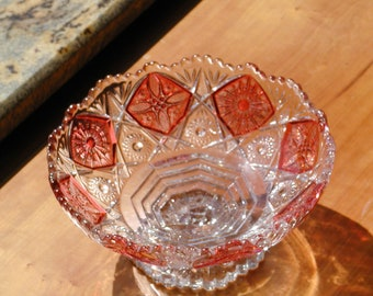 Imperial Glass Pedestal Bowl Ruby Flash Footed