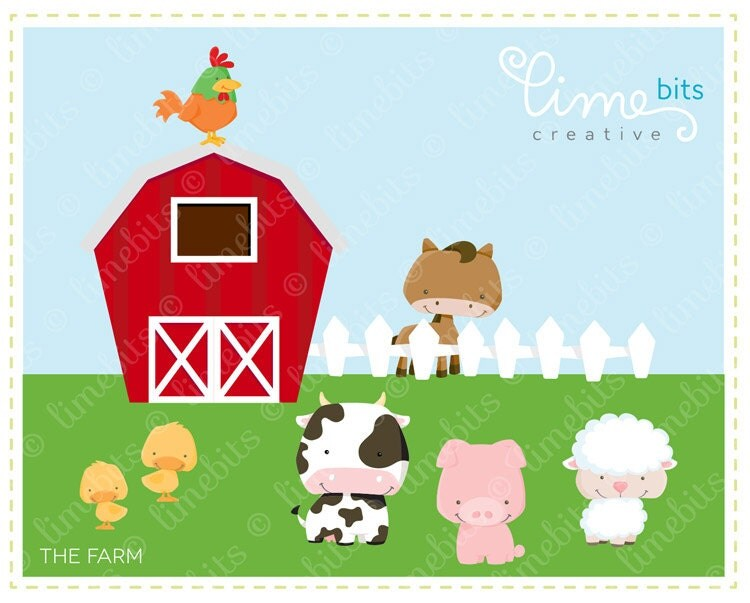 Farm Clip Art by LimeBitsCreative on Etsy