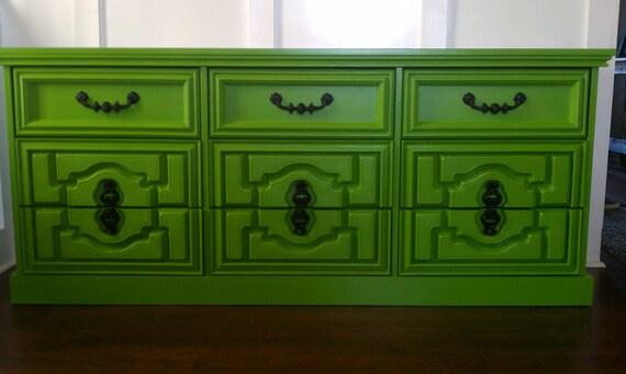 RESERVED for Amanda Waseman - Sassy Grass Green 9 drawer dresser