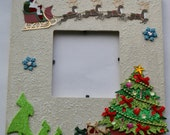 There goes Santa Christmas hand painted 3.5x3.5 wood picture frame