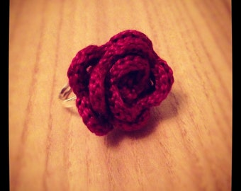 Crochet burgundy red rose ring