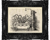BATHROOM ART Octopus in Victorian Bathroom Wall Art Print Bathroom Wall Decor On A Vintage Dictionary Page Art Funny Bathroom Art Print 78