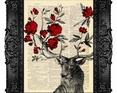 DEER ANTLER Art Print Deer Decor Deer Print Deer Wall Decor Deer Illustration Antler Wall Art Deer Drawing Poster Red Rose Deer Flowers 273