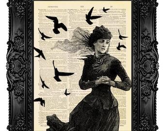 Victorian Drama - ORIGINAL ARTWORK - Dictionary Art Print Vintage Upcycled Antique Book Page no.137