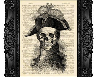 Ghost Admiral, Skull - ORIGINAL ARTWORK - Dictionary Art Print Vintage Upcycled Antique Book Page no.254