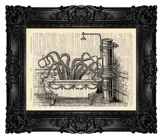 Bathroom art octopus in victorian bathroom by for 1800s bathroom decor