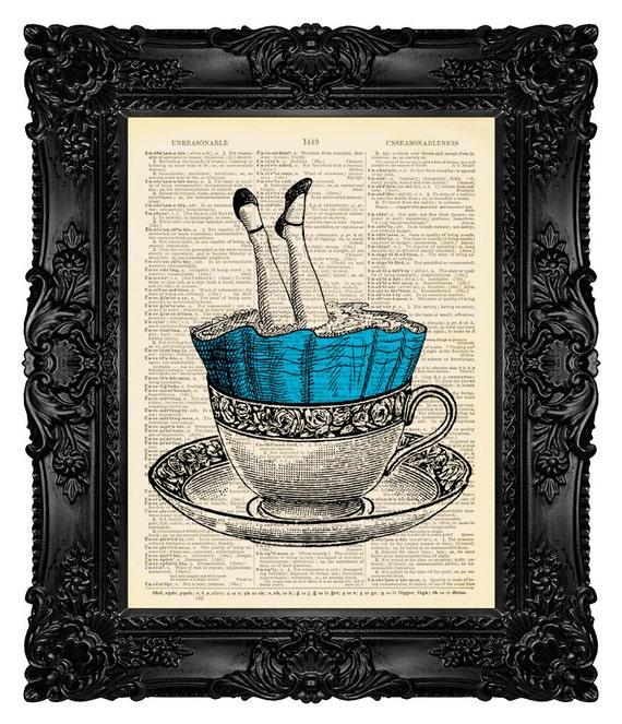 alice in wonderland decor funny art print by