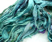 shades of turquoise recycled silk sari ribbon