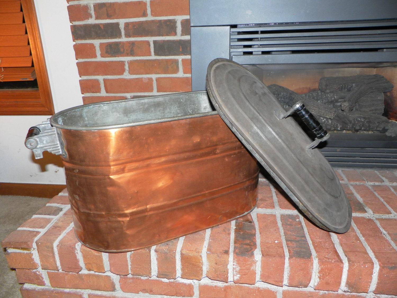 Antique Oval Copper Boiling Pot Art Deco Styling