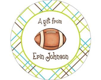 Printable 3-inch Football Property Label or Gift Tag, Digital Label by Swell Printing - Personalized Wording