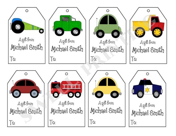 Printable Personalized Cars Gift Tags Cars trucks and