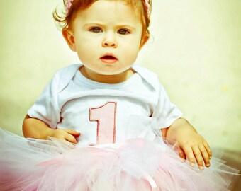 Princess in pale pink birthday bodysuit / tee